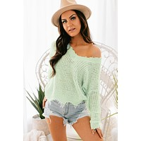 Just On Time Fringe Sweater (Mint)