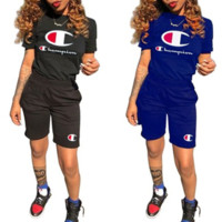 Champion New style fashionable print pattern short sleeve knickers two pieces suit