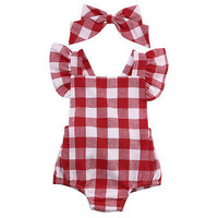 Newborn Infant Kids Baby Girl Red Plaid Romper Jumpsuit With Headband 0-18M