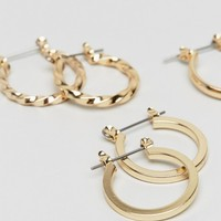 ASOS DESIGN pack of 3 20mm hoop earrings in gold | ASOS