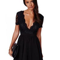 Black V Neck Short Sleeve Lace Sheath Pleated Mini Skater Dress