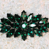 "Gorgeous Emerald Color Green 3"" Pin Brooch For Wedding Party Prom D219"