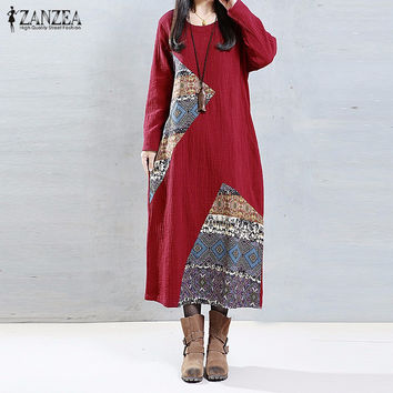 2016 ZANZEA Women Long Maxi Dress Ladies O Neck Long Sleeve Pockets Patch Stitching Leisure Loose Baggy Long Dresses Vestidos