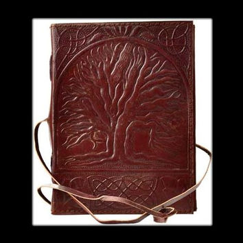 Sacred Oak Tree Genuine Leather Blank Journal with cord