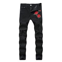 Men's Ripped Jeans With Embroidery Stretch Skinny Biker Flowers Rose Embroidered Jeans Pants Fashion Designer Men Trousers
