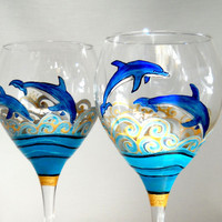 Made To Order Wine Glasses Handpainted Glassware Dolphin Hand Painted Wine Glasses