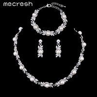 Mecresh 3 Pcs/Sets Simulated Pearl Bridal Jewelry Sets Wedding Necklace Sets Engagement Jewelry Accessories MTL444+MSL197