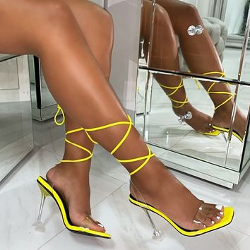 Heels Women Pumps Ankle Cross Strap Sandals Shoes Woman Ladies Peep Toe High Heels Dress Party Shoes Woman