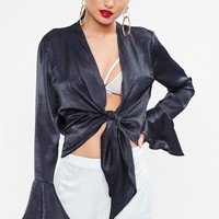 Missguided - navy Flared Sleeve Tie Front Top