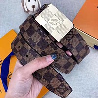 Alwayn Louis Vuitton LV New Fashion Plaid Leather Women Men Leisure Belt With Box