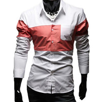 The Russel Color Block Shirt Coral