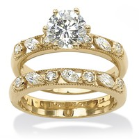 2.16 TCW Cubic Zirconia 18k Yellow Gold over Sterling Silver Wedding Band Set