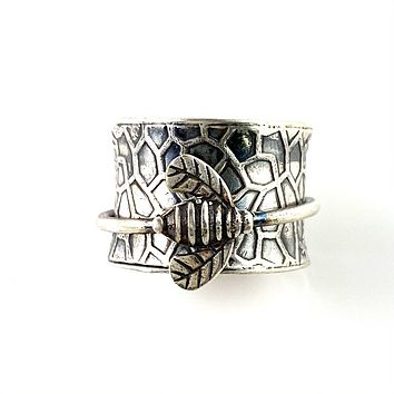 Spinner Ring - Sterling Silver Honey Bee & Hive