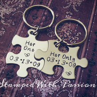 Her One and Her Only Puzzle Piece Keychain Set  With Date - Lesbian Couples - LGBT