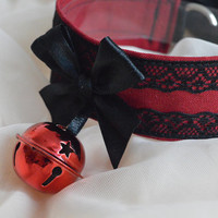 Hell's bells - black and blood red dark gothic choker with big bell - lolita kitten pet play collar