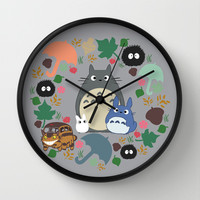 Totoro Wreath Wall Clock by Canis Picta