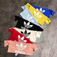 Adidas Originals Trefoil Women Men Summer Round Collar T-Shirt Pullover Top High Quality Multi-color optional