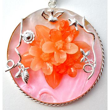 Pink & Orange Flower MOP Pendant