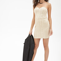 FOREVER 21 Abstract Embroidered Bodycon Dress Gold