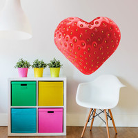 Love Strawberry Heart Sticker. Peel & Stick Removable Decole, Mural, Skin, Decal. Valentine's day