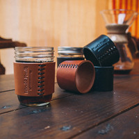 Wood&Faulk — Half Pint Leather Jar Sleeve