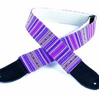 Peru Hand-Made Guitar Strap With Cotton Back In Purple Inca