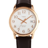 Timex Originals Leather Strap Watch With Gold Detail T2P563