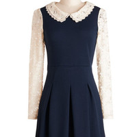 ModCloth Vintage Inspired, 60s, Scholastic Short Long Sleeve A-line Bandstand a Chance Dress
