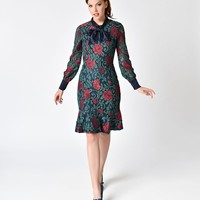 Vintage Style Navy Blue and Red Rose Lace Wiggle Dress
