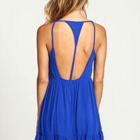 ROYAL TIERED CREPE T STRAP DRESS