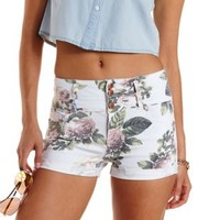 Multi Floral Print High-Waisted Denim Shorts by Charlotte Russe