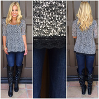 Making Moves Knit Tunic Top - GREY