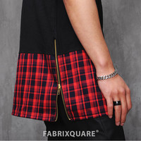 XQUARE 23 Red Plaid Extended Drop T Shirt - 83cm