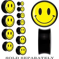 Black Acrylic Yellow Smiley Face Saddle Plug