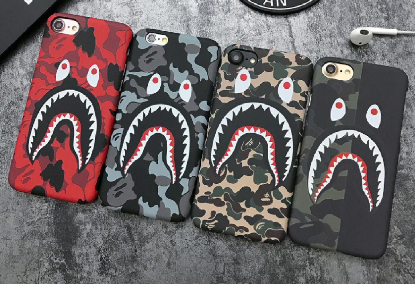 Image of Bape shark print phone shell phone case for Iphone 6/6s/6p/7p/7/X
