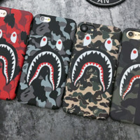 Bape shark print phone shell phone case for Iphone 6/6s/6p/7p/7/X