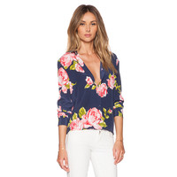 Floral Chiffon Long Sleeve Short Front Blouse