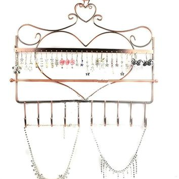 Multi-functional Heart Shape Wall Mount Earrings Necklace Bracelet Jewelry Metal Display Stand Rack Organizer