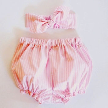 Pink Striped Baby Bloomer and Headband Set, Pink Baby Headband, Baby Girl Headband, Baby Bloomers, Baby Clothing, Coming Home Newborn Outfit