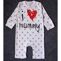 I love Mum Dad Newborn Baby Rompers One-piece Striped Casual Romper Sleepsuit 100% Cotton Long Sleeve Letter Print Jumpersuit