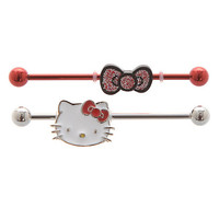 Hello Kitty Head Bow 14G Industrial Barbell 2 Pack | Hot Topic