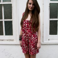 Cute Topshop Red Floral Print Playsuit Jumpsuit - 10 from Queen of Threads
