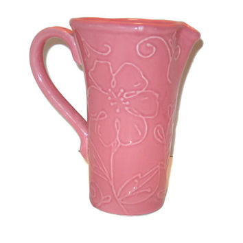 Vintage Pink Pitcher, Vase, Home Decor, Flower Pitcher, Flower Vase, FTD Vase, Pitcher, Pink Home Decor, Pink Pitcher Vase, Pottery Pitcher