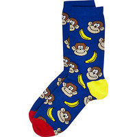 River Island Boys blue monkey banana socks