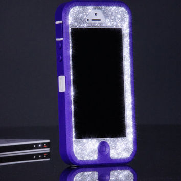 OTTERBOX Case iPhone 5 Custom Otterbox Defender Case Glitter Purple/Silver Sparkly iPhone 5 Otterbox
