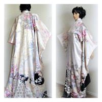 GET 30%OFF Peacock Beauty Japanese Kimono Silk Robe Authentic Floral Designer Yuzen Wedding Bridal Cover up Long Sleeves Furisode Gown