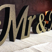 Wooden, black with GOLD dust sign Mr and Mrs , wedding signs, wooden Letters for Sweetheart Table, wedding signs,Wedding decoration