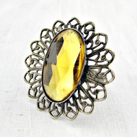 Vintage Amber Glass Cocktail Ring, Brass Filigree Ring, Gold Rhinestone Crystal Ring, Adjustable Ring, 60s Vintage Statement Costume Jewelry