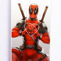 iPhone 5S Case - Rubber TPU Cover with Deadpool Love Heart Rubber Case Design