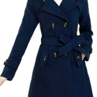 Z-SHOW Women's Double Breasted Wool Coats with Belt